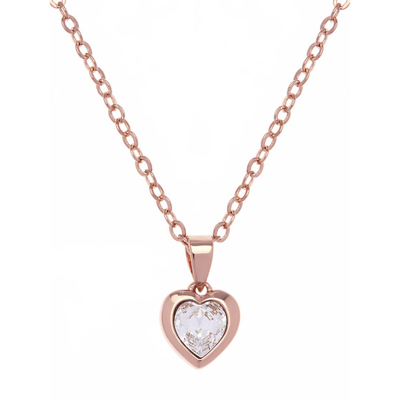 Ted Baker Womens Pink Rose Gold Hannela Crystal Heart Pendant main image
