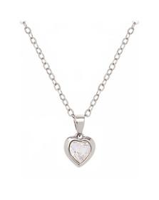 Ted Baker Womens Silver Hannela Crystal Heart Pendant