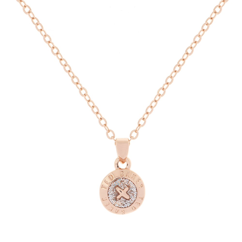 Rose Gold Elvina Enamel Mini Button Pendant main image