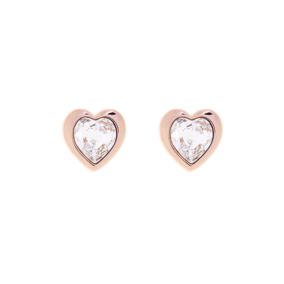 Ted Baker Womens Pink Rose Gold Han Crystal Heart Earring