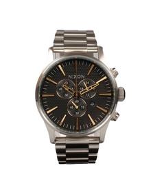 Nixon Mens Silver Sentry Chrono Watch