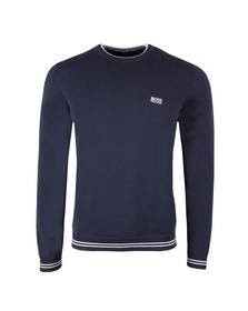 Boss Mens Blue Rime Crew Neck Jumper