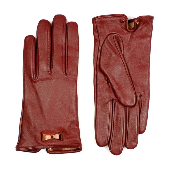 Ted Baker Womens Red Dolly Bow Inlay Gloves
