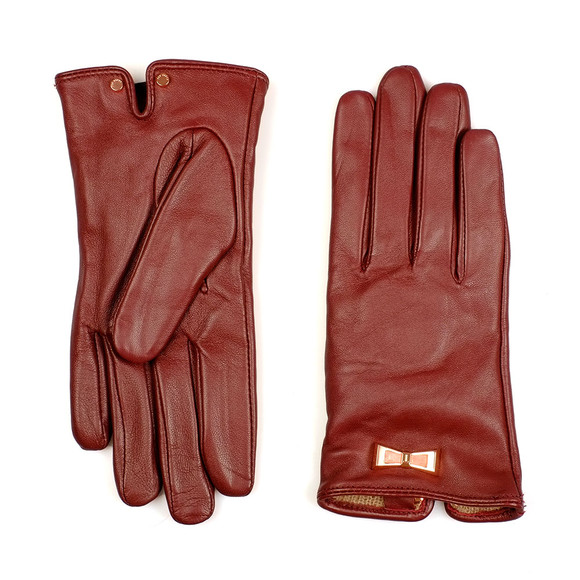 Ted Baker Womens Red Dolly Bow Inlay Gloves main image