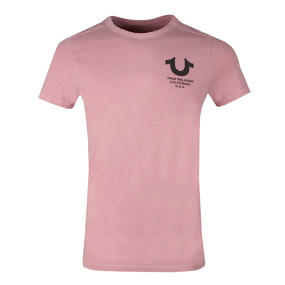 True Religion Mens Pink Crew Neck T Shirt