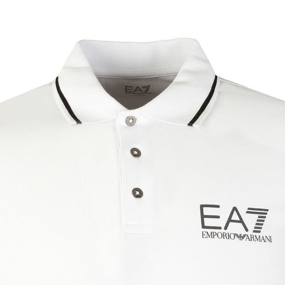 EA7 Emporio Armani Mens White Tipped Polo Shirt main image