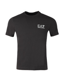 EA7 Emporio Armani Mens Black Small Metallic Logo T Shirt
