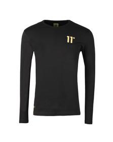 Eleven Degrees Mens Black Gold Logo Long Sleeve T Shirt