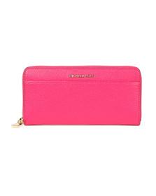 Michael Kors Womens Pink Mercer Pocket Zip Around Continental Purse