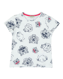 Kenzo Kids Girls White Tiger & Lion Tee