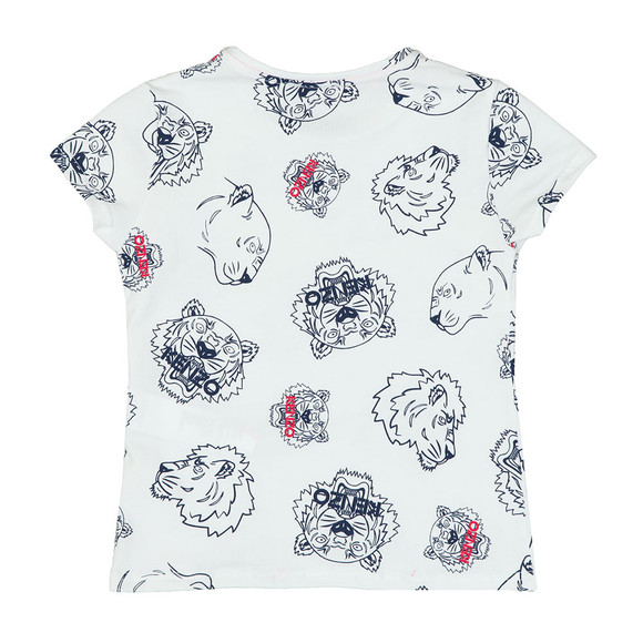 Kenzo Kids Girls White Tiger & Lion T-Shirt