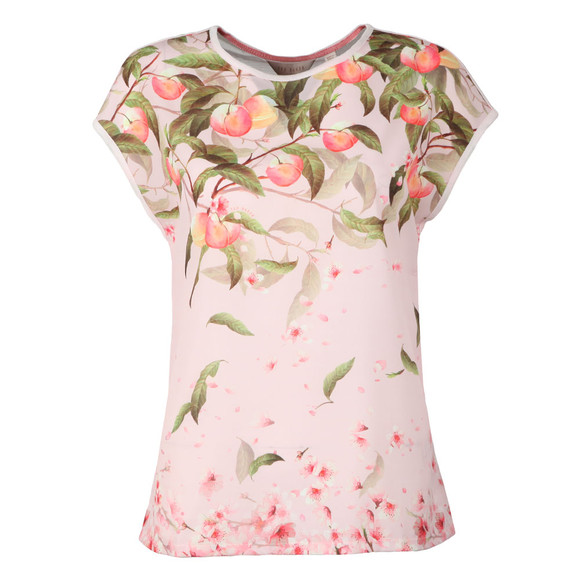 Ted Baker Womens Pink Roozie Peach Blossom Woven Front T Shirt main image