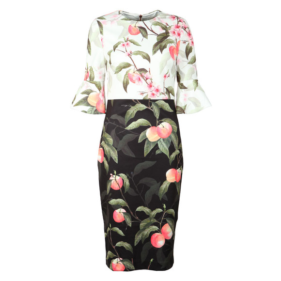 Ted Baker Womens Black Areea Peach Blossom Ruffle Dress main image