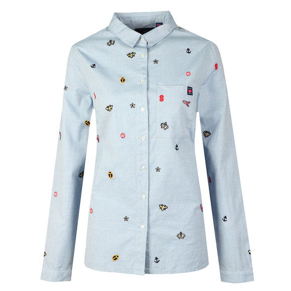 Superdry Womens Blue Madison Embroidered Shirt main image