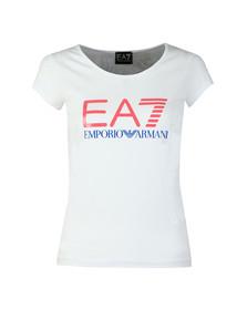 EA7 Emporio Armani Womens White Large Logo T Shirt
