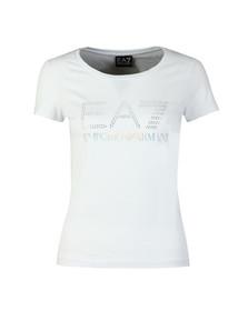 EA7 Emporio Armani Womens White Diamante Logo T Shirt