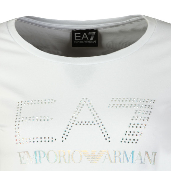 EA7 Emporio Armani Womens White Diamante Logo T Shirt main image