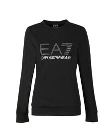 EA7 Emporio Armani Womens Black Diamante Logo Sweatshirt