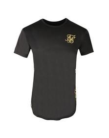 Sik Silk Mens Black Curved Hem Slide T Shirt