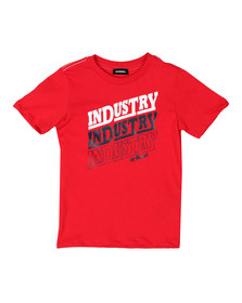 Diesel Boys Red Large Logo T Shirt
