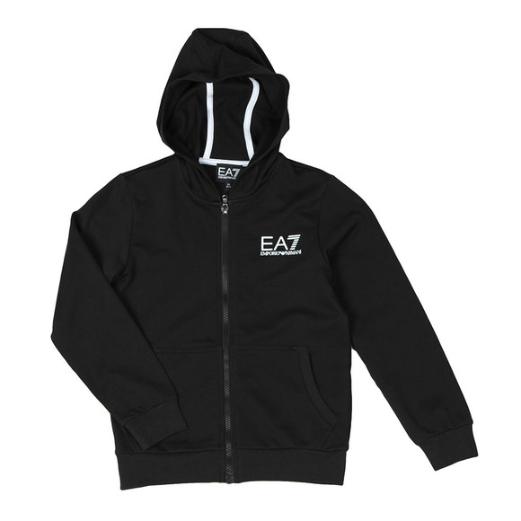 EA7 Emporio Armani Boys Black Boys Small Logo Full Zip Hoody main image