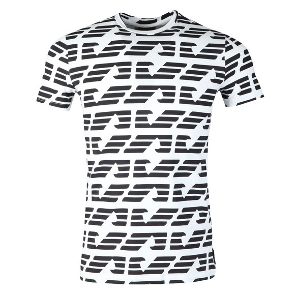 Emporio Armani Mens White Allover Large Eagle T-Shirt
