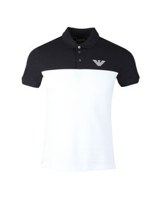 Emporio Armani Mens Blue Embroidered Logo Pique Polo Shirt
