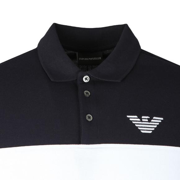 Emporio Armani Mens Blue Embroidered Logo Pique Polo Shirt main image