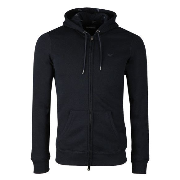 Emporio Armani Mens Blue Small Logo Full Zip Hoody main image