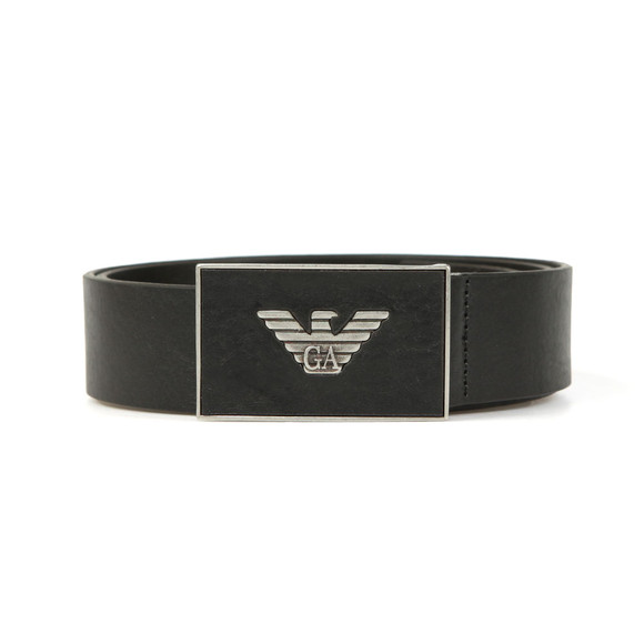 Emporio Armani Mens Black Leather Plaque Belt