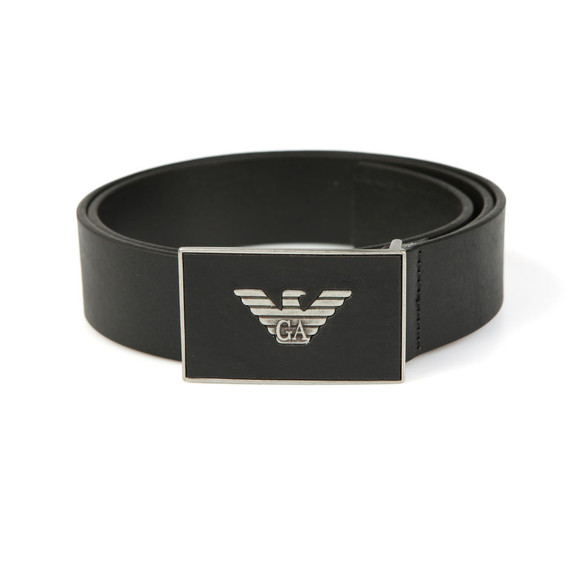 Emporio Armani Mens Black Leather Plaque Belt main image