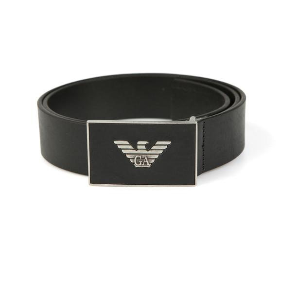 Emporio Armani Mens Black Leather Plaque Belt