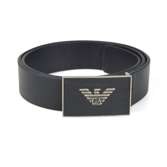 Emporio Armani Mens Blue Leather Plaque Belt main image
