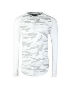 Sik Silk Mens White Long Sleeve Raglan Gym T Shirt