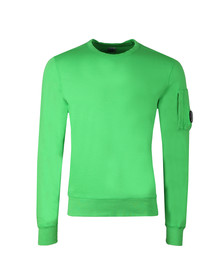 CP Company Mens Green Viewfinder Sleeve Crew Sweat