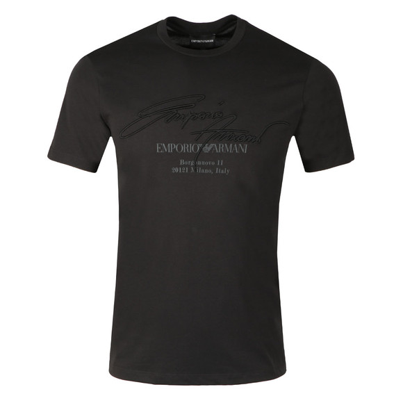 Emporio Armani Mens Black Embroidered Signature T Shirt main image