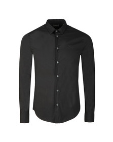 Emporio Armani Mens Black Small Logo Slim Plain Shirt