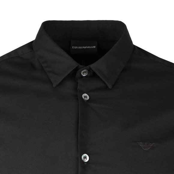 Emporio Armani Mens Black Small Logo Slim Plain Shirt main image
