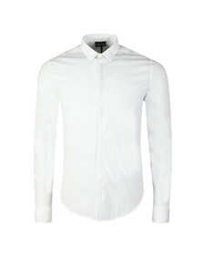 Emporio Armani Mens White Small Logo Slim Plain Shirt