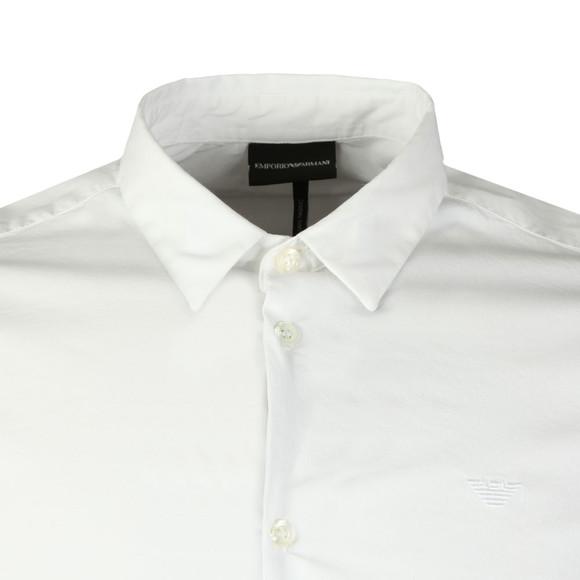 Emporio Armani Mens White Small Logo Slim Plain Shirt main image