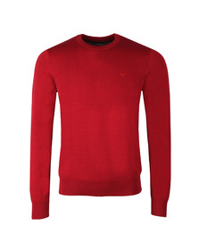 Emporio Armani Mens Red Small Logo Crew Neck Jumper
