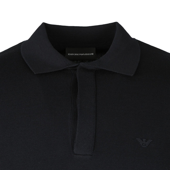 Emporio Armani Mens Blue Knitted Long Sleeve Polo Shirt main image