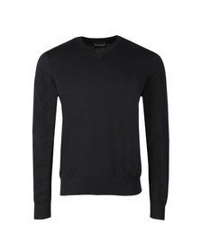 Emporio Armani Mens Blue Small Logo V Neck Jumper