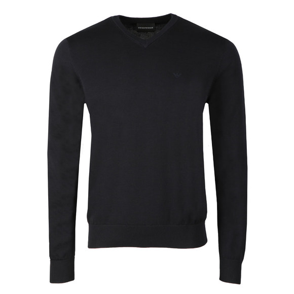 Emporio Armani Mens Blue Small Logo V Neck Jumper main image