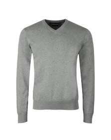 Emporio Armani Mens Grey Small Logo V Neck Jumper