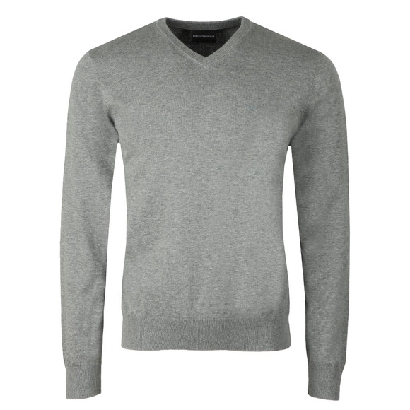 Emporio Armani Mens Grey Small Logo V Neck Jumper main image