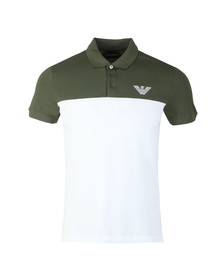 Emporio Armani Mens Green Embroidered Logo Pique Polo Shirt