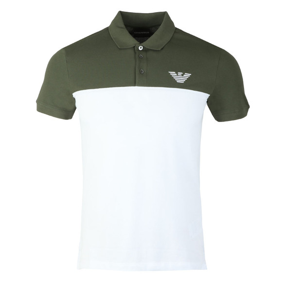 Emporio Armani Mens Green Embroidered Logo Pique Polo Shirt main image