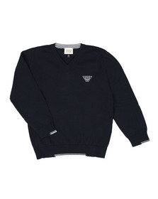 Armani Junior  Boys Blue Small Logo Knitted V Neck Jumper