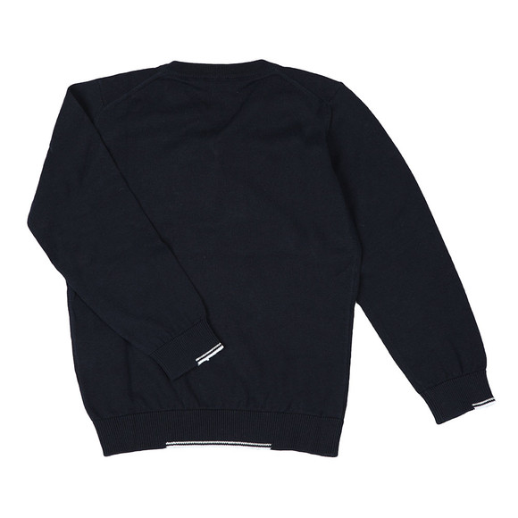 Armani Junior  Boys Blue Small Logo Knitted V Neck Jumper main image